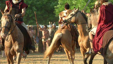 celt roman cavalry 03 Stock Video Footage