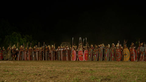 roman army night 01 Stock Video Footage