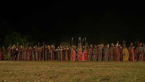 roman army night 01 Stock Video Footage