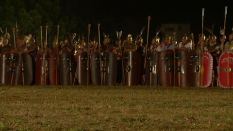 roman army night 03 Stock Video Footage