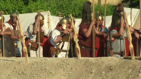 roman camp 04 Stock Video Footage