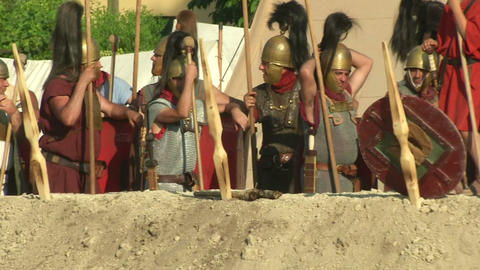 roman camp 04 Stock Video Footage