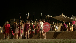roman camp night 02 Stock Video Footage
