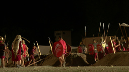 roman camp night 02 Footage