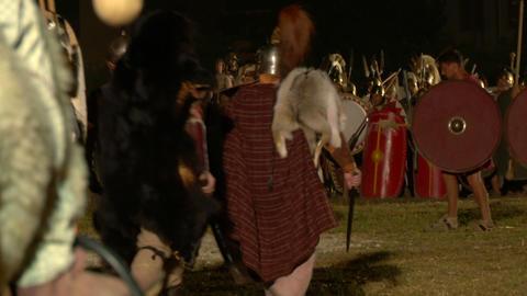 roman celt attack night 01 Stock Video Footage
