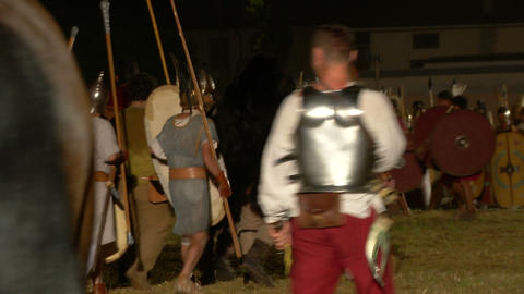 roman celt attack night 01 Stock Video Footage