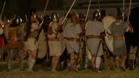 roman celt attack night 03 Stock Video Footage