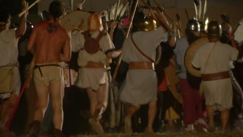 roman celt attack night 03 Stock Video Footage