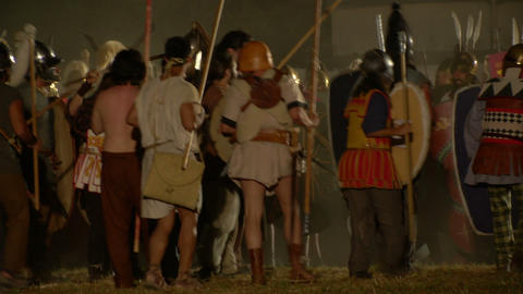 roman celt attack night 05 Stock Video Footage
