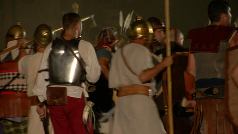 roman celt attack night 07 Stock Video Footage