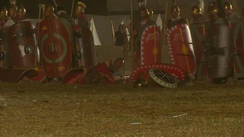 roman celt attack night 09 Stock Video Footage