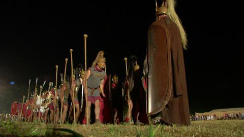 roman legion march night 02 Stock Video Footage