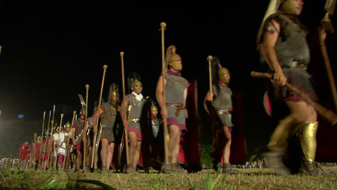 roman legion march night 02 Stock Video Footage