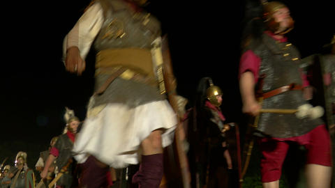 roman legion march night 04 Stock Video Footage