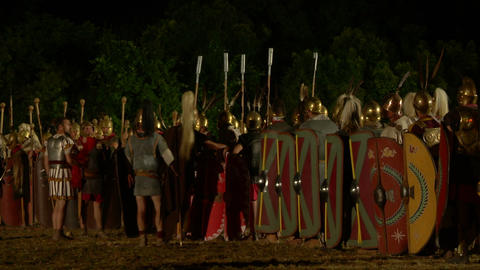 roman legion march night 08 Stock Video Footage