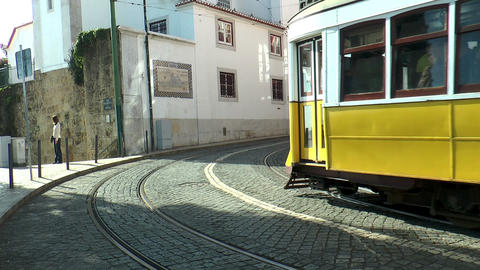 historic trams in lisbon portugal Stock Video Footage