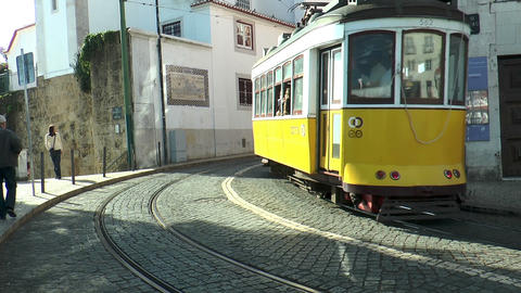 Historic Trams In Lisbon Portugal stock footage