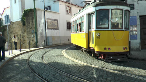 historic trams in lisbon portugal Footage