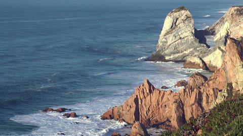 sea cliffs at cabo da roca Stock Video Footage