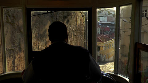 inside historic cable car moving down in lisbon Stock Video Footage