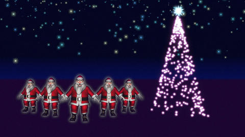 5 Santas are dancing beside a Christmas Tree Animation