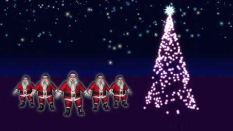 5 Santas are dancing beside a Christmas Tree Stock Video Footage
