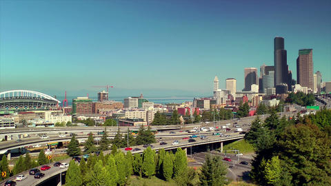 Freeway into Downtown Seattle Footage