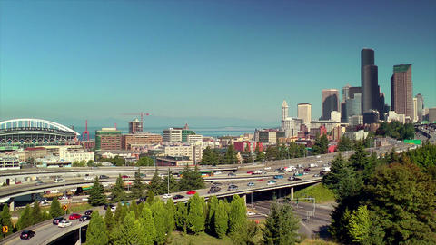 Freeway into Downtown Seattle Stock Video Footage