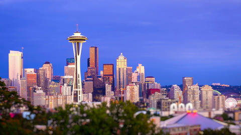 Seattle Skyline Sunset, Time Lapse Stock Video Footage