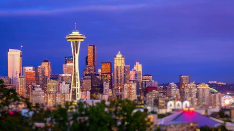 Seattle Skyline Sunset, Time Lapse Stock Video Footage