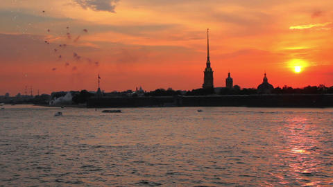 Firework at Sunset over Peter and Paul fortress in Footage