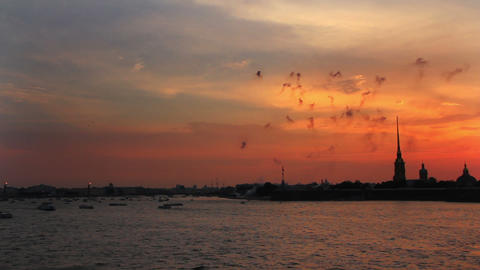 Firework at Sunset over Peter and Paul fortress in Stock Video Footage