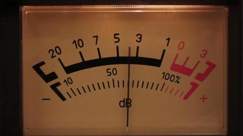 decibel meter with backlit - part of sound equipme Stock Video Footage