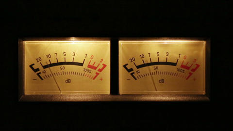 stereo decibel meters with backlit - part of sound Footage