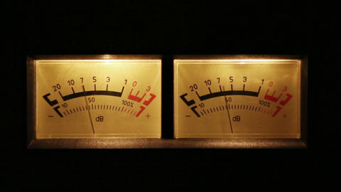 stereo decibel meters with backlit - part of sound Stock Video Footage