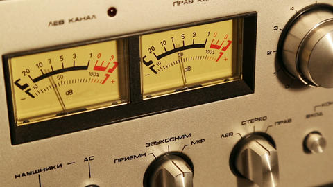 stereo decibel meters - part of sound equipment Stock Video Footage