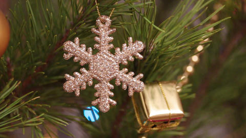 Decorative Snowflake On Christmas Tree Decorated W stock footage