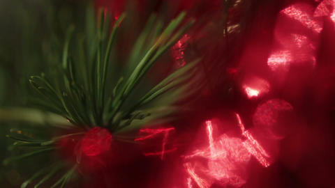 defocused decorated christmas tree with flashing g Stock Video Footage