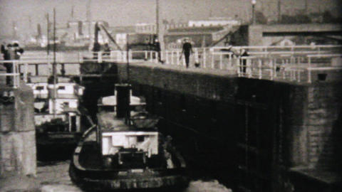 Boat Going Through Locks In Seattle 1940 Vintage Footage