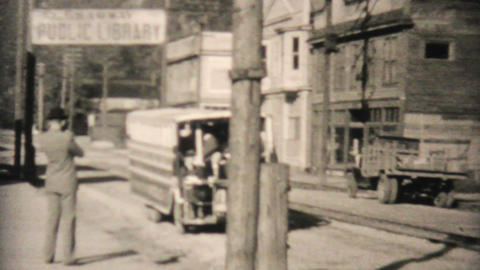 Old Tour Bus In Saginaw Alaska 1940 Vintage 8mm Stock Video Footage
