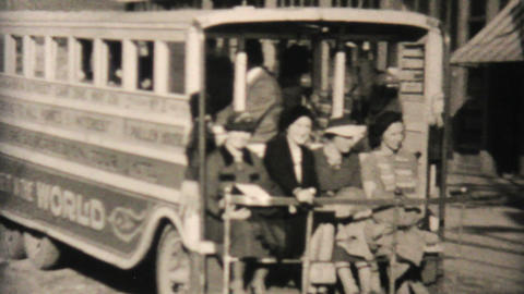 Old Tour Bus In Saginaw Alaska 1940 Vintage 8mm stock footage