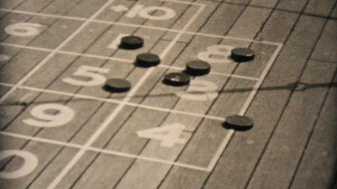 Playing Court Shuffleboard On Ship 1940 Vintage Stock Video Footage