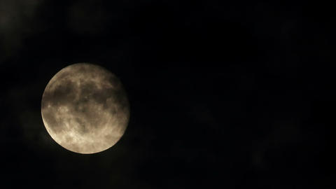 Moon on the night the dark sky (Time Lapse). FULL Stock Video Footage