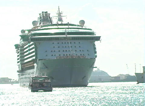 Cruise Ship Leaves Port (1) Footage