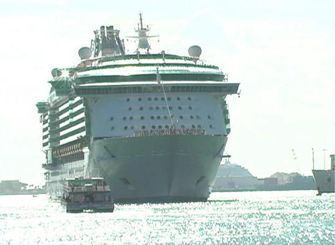 Cruise Ship Leaves Port (1) Stock Video Footage