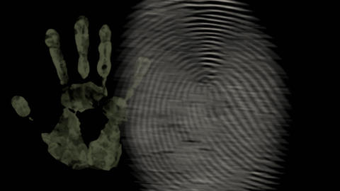 fingerprint and hand black background animation Stock Video Footage