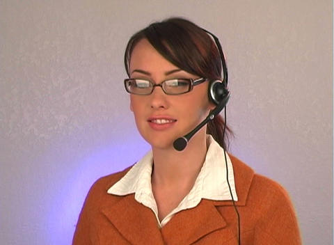 Beautiful Customer Service Operator-1 Stock Video Footage