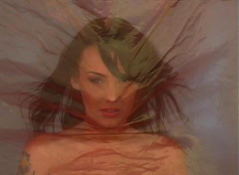 Beautiful Brunette Behind Sheer Fabric (1) Stock Video Footage