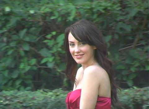 Beautiful, Sexy Brunette Walking Outdoors (1) Footage