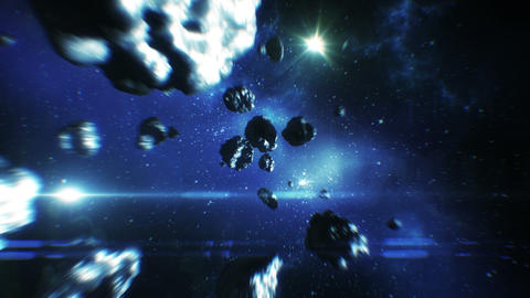 Beautiful flight in space near Asteroids collision Animation